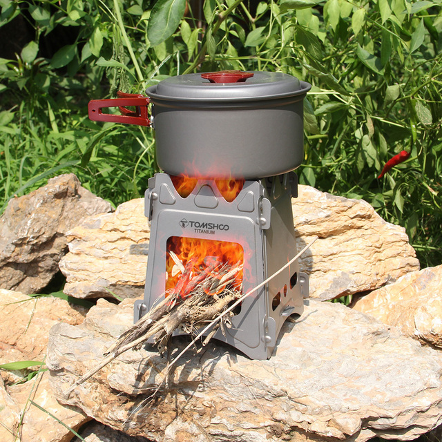 TOMSHOO Camping Wood Stove Outdoor Stove Tent Tarp Portable Folding Titanium Wood Burning Backpacking Stove for Outdoor Cooking