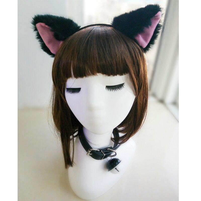 Sexy Alternative metal PU Leather bell Collar Fox Headband slave Neko costume Accessories,BDSM Bondage Halloween cosplay kit