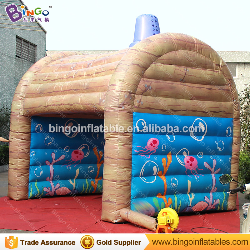 Free shipping inflatable house shaped tent with full printing for kids party events-toy tent commercial sea inflatable blue water slide with pool and arch for kids