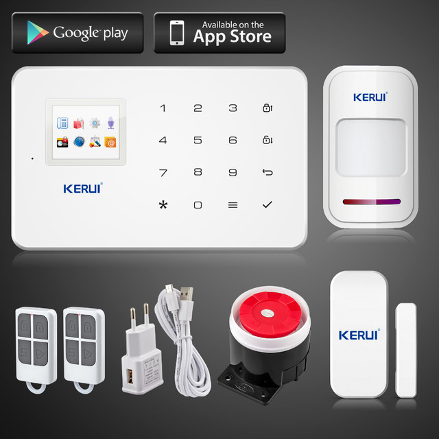Kerui G18 Android App iOS App control wireless security system gsm  alarm system wireless magnetic window sensor+motion detector