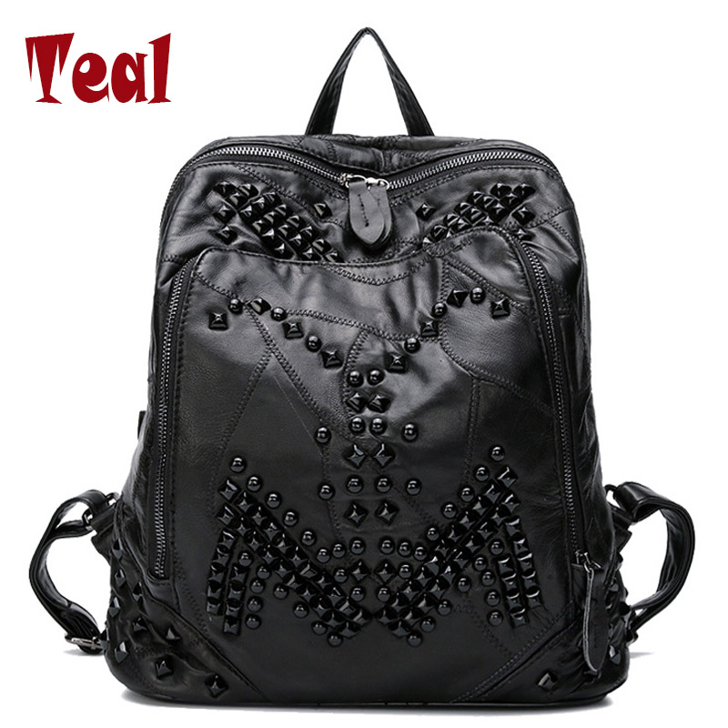 women's backpacks for teenage girls Ladies Bags with Zippers Rivets black leather backpack designer backpack high quality 2016 2016 fashion women waterproof pu leather rivet backpack women s backpacks for teenage girls ladies bags with zippers black bags