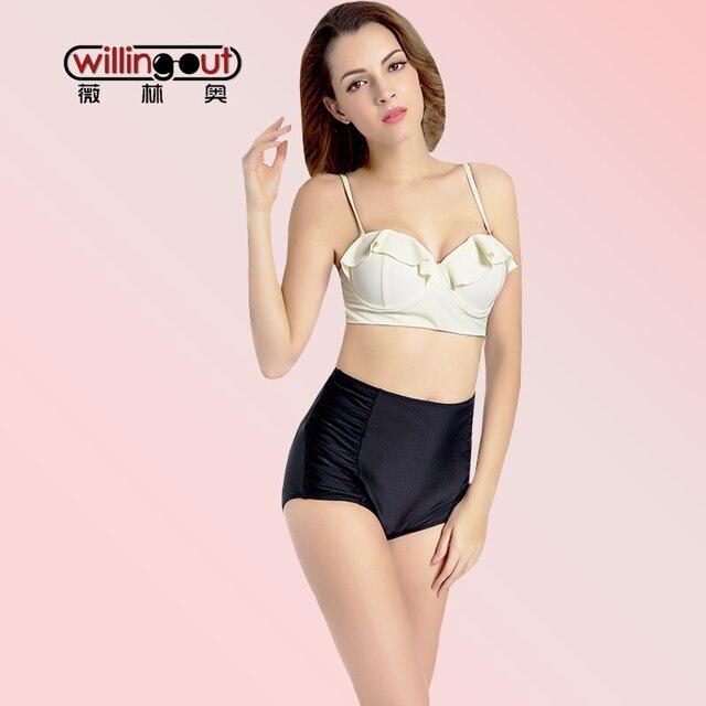 02cbfebc827 Light Yellow Color Molded Bra Bikini Wear Easy Push Up Top Bikini Set High  Waist Bottom Swim Suits Plus Size XXXL Bathing Suit
