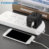 FORNORM 4 USB Universal Travel Charger With 2 4A Global Travel Power Adapter For US UK