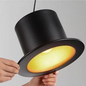 Image 4 - Retro Pendant Lamp Jazz Top Hat Aluminum Pendant Lamp 110v 220v E27 Outside Black Inside Golden Bar Counter Bedroom Cafe Lamp