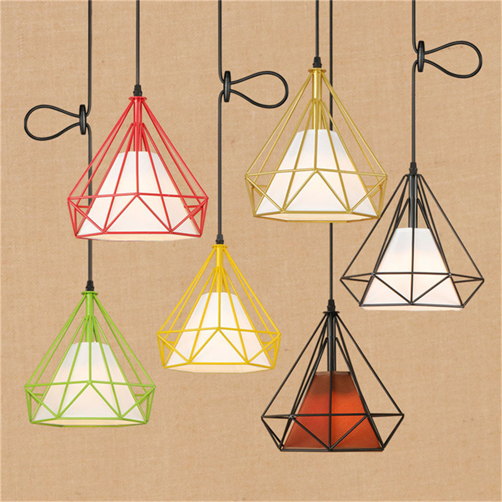 Vintage D25cm Colorful Metal lampshade + Fabric E27 led pendant lights industrial cloth store shop office diamond pendant lampVintage D25cm Colorful Metal lampshade + Fabric E27 led pendant lights industrial cloth store shop office diamond pendant lamp