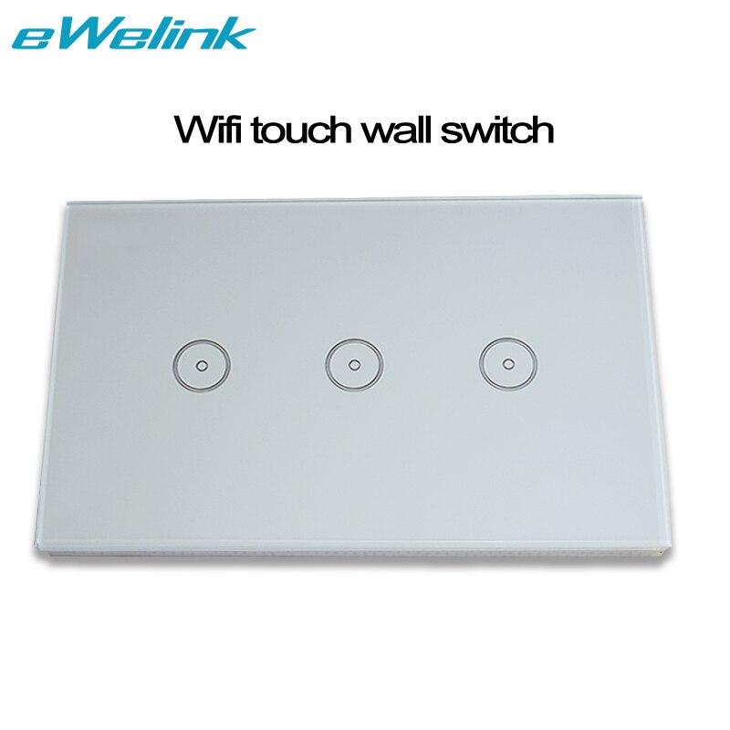 imágenes para EE. UU./AU Wifi 3 Gang Control Remoto Inalámbrico de Interruptor de Pared Light Touch Screen AC110V 240 V Casa Inteligente compatible con Amazon Alexa