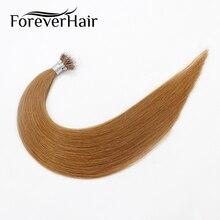 """FOREVER HAIR 0,8 г/локон 1"""" 18"""" 2"""" Remy микрокольца, бусины для наращивания человеческих волос Клубника блонд#30 предварительно скрепленные нано кольцо человеческие волосы"""