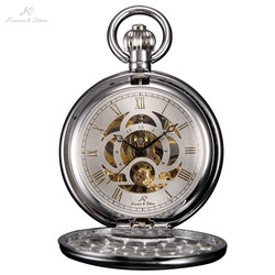 KS Brand Retro Skeleton White Dial Silver Case Roman Numeral Analog Jewelry Clock Chain Men Mechanical Pocket Watch Gift /KSP010
