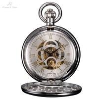 KS Brand New Retro Skeleton White Dial Silver Case Roman Numeral Analog Necklace Clock Chain Men