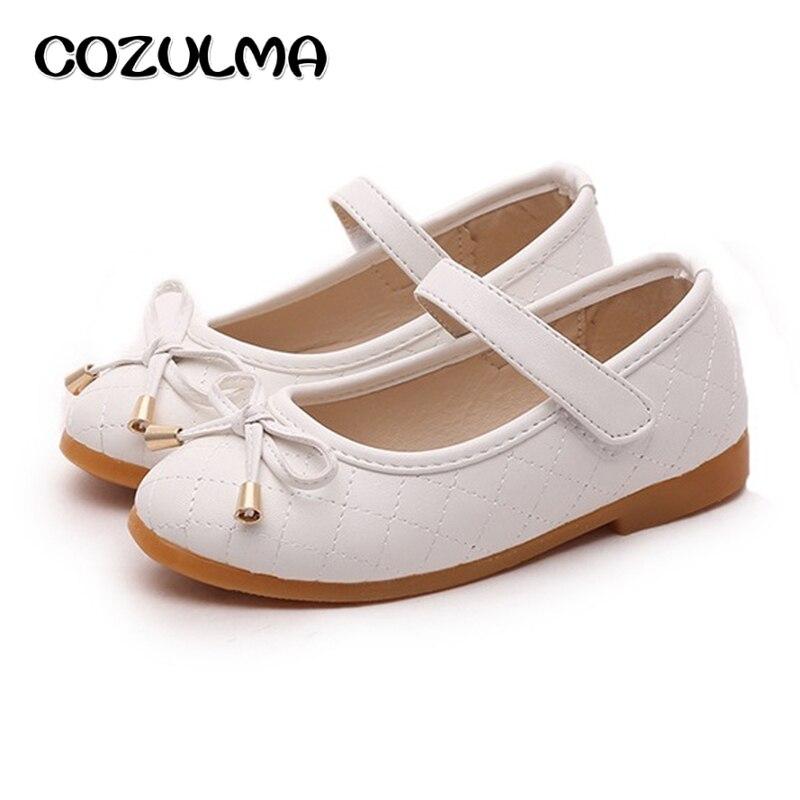 COZULMA Girls Pu Leather Shoes Children Causal Shoes Girls Princess Bow Shoes Children Strap Flat Sneaker Kids Fashion Sneaker