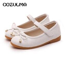 Cozulma meninas sapatos de couro do plutônio crianças sapatos causal meninas princesa arco sapatos crianças cinta plana tênis moda
