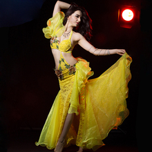 NEW style women belly dance performance clothes luxury bra+skirt(with underwear) 2pcs belly dancing suit girls dancing clothing