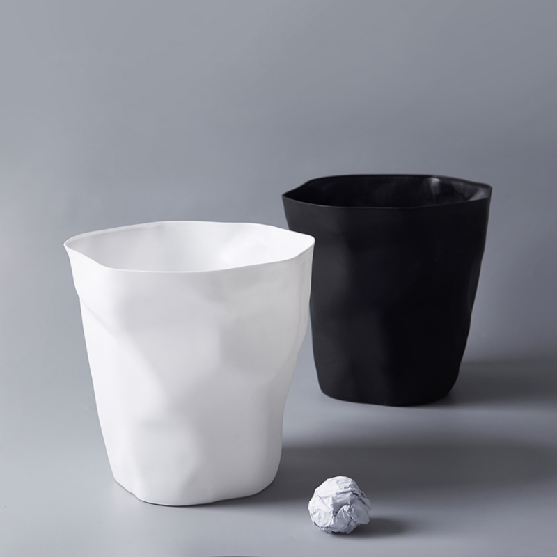 Image 5 - Black/White Colors Nordic Style PP Wastebasket Trash Can, Round Desk Pen Holder, Flowerpot-in Waste Bins from Home & Garden