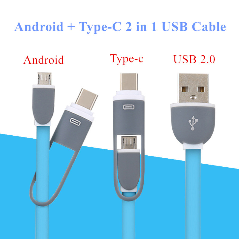 1m 2 in 1 Micro USB to Type c Cable font b Android b font Type