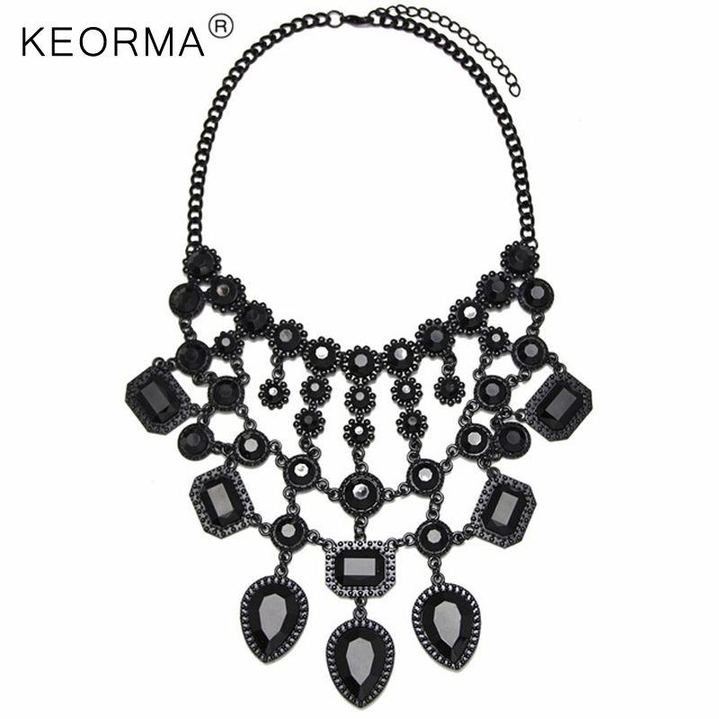 KEORMA Simplicity Choker Necklace Women Heart Crystal Beads Inlaid Paint Metal Grid Pendant Statement Necklace NK022