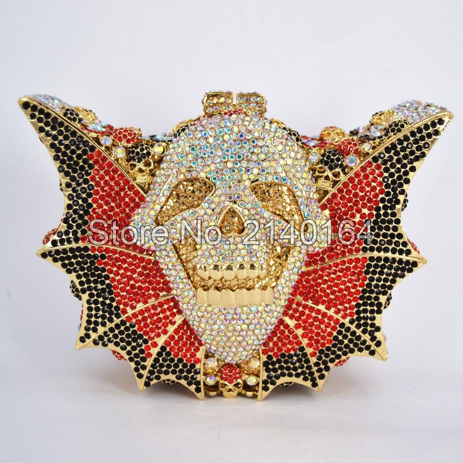 ФОТО Crystal Purse New Style Party Bag Clutch bag Women Wedding Bag  Bat Shape Hallowmas Skull Bag Diamond Prom Party Bling Handbags