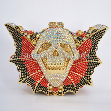 Crystal Purse New Style Party Bag Clutch bag Women Wedding Bag Bat Shape Hallowmas Skull Bag