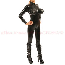 Inflatable Breast Latex Bodysuit Women Tight Costumes Rubber Catsuit S-LC238