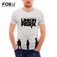 FORUDESIGNS Gray Black Man S T Shirt Linkin Park Printing Hip Hop Rock Tshirt Men Short
