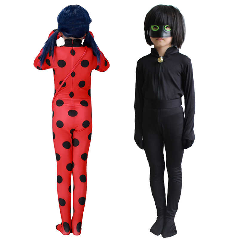b1bfc76c7 ... Ladybug Nior Cat Cosplay Costumes Girls Jumpsuits Wig Halloween  Christmas Fancy Party Dress Up Costume Kids ...