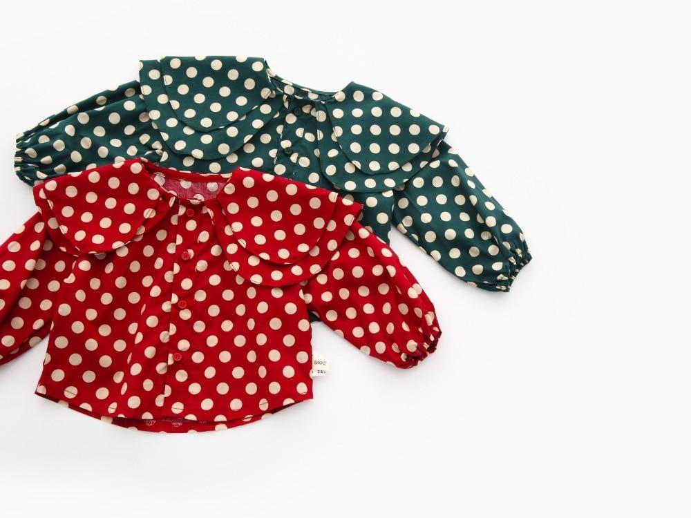 Kids Blouse for Girls Polka Dot Lotus leaf Collar girls school blouses baby girl blouse Children Clothing Korean style 2019 Top in Blouses Shirts from Mother Kids
