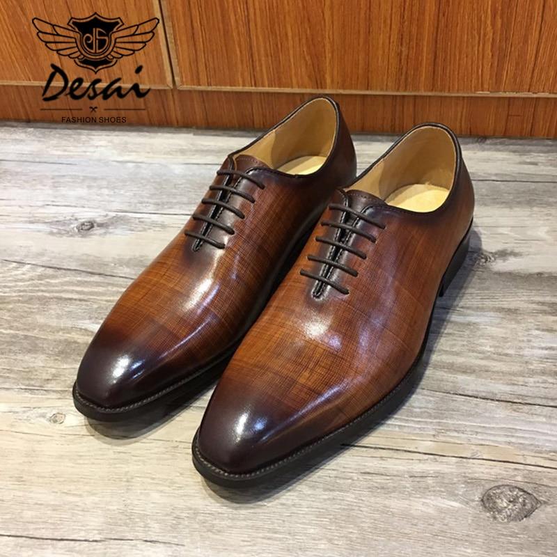 DESAI Men's Natrual Leather Business Dress Shoes Men Retro Bullock Genuine Leather Brock Oxfords Black Lace Up Wedding Shoes