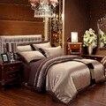 Juego de cama de algodón jacquard de seda azul café/ropa de cama queen king size 4/6 piezas edredón cubierta de sábanas de cama set de almohada