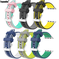 For Apple Watch Band Soft Silicone Sport Replacement Strap for both Series 1 and Series 2 Models Double Tour Design 38mm 42mm