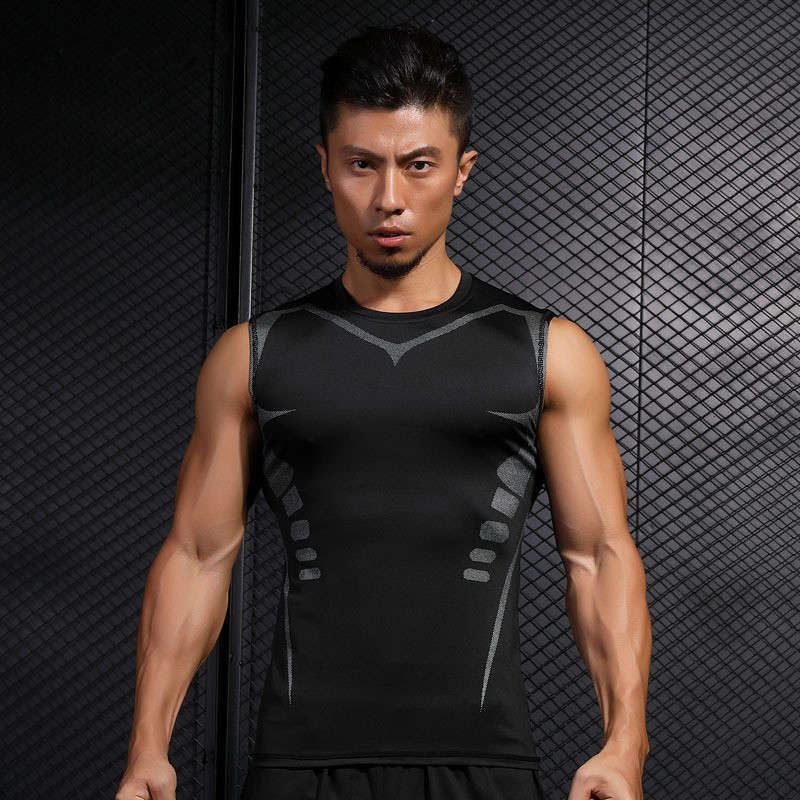 Mens Sports Compression Top Tight Sleeveless Vest T-Shirt Quick Dry Running Gym