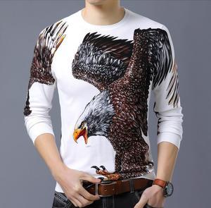 Image 4 - BONJEAN ฤดูใบไม้ร่วงแฟชั่นผู้ชายเสื้อกันหนาวแขนยาวรอบคอใหญ่ Eagle พิมพ์ผ้าฝ้ายถักบางเสื้อ