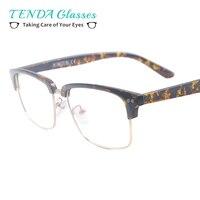 Men Acetate Half Rim Square Eyewear Women Colourful Spectacle Frame For Prescription Multifocal Lenses