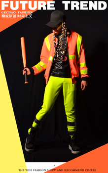 Nightclub Male singer DJ costumes Mens yellow baseball jacket ourwear stage performance clothes