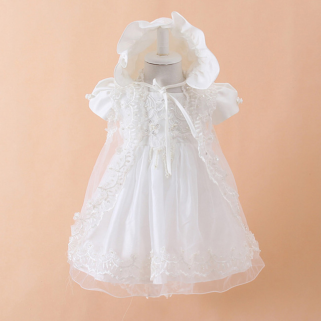 2016  Summer 3PCS Newborn Baby Christening Gown Dress Girls White Princess Lace Chiffon Dresses  for Newborn Baptism