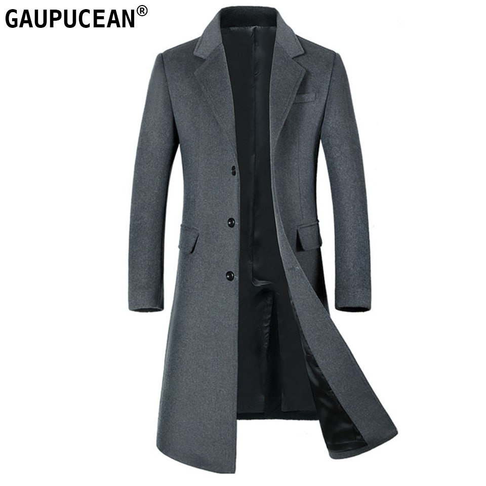 Man Wool Jacket Extra Long High Quality Formal Business Grey Single Breasted Button Male Trench Pockets Overcoat Men Woolen Coat