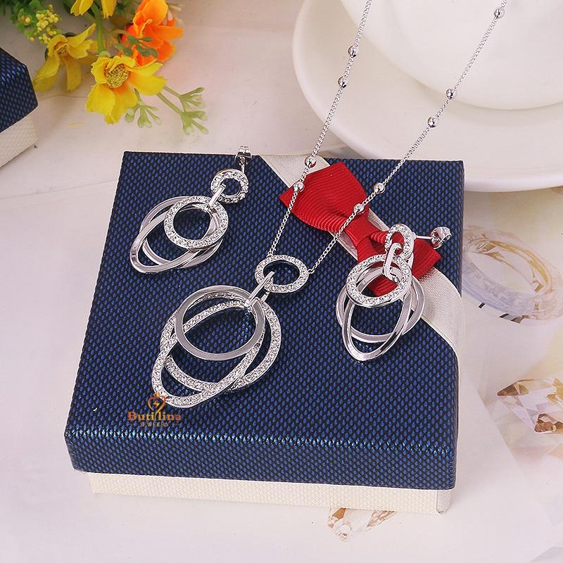 3fb7593b437d S124682 elegante collar de cristal del pendiente del color del oro de la  aleación del cinc plata con Austria joyería cristalina de la señora de la  manera