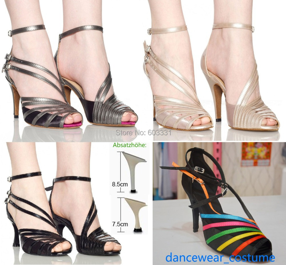 fashion high-heeled ballroom latin dance shoes Ladies Women's Tango Ballroom Dance Shoes Heeled 4Colors US5-9 - dress store