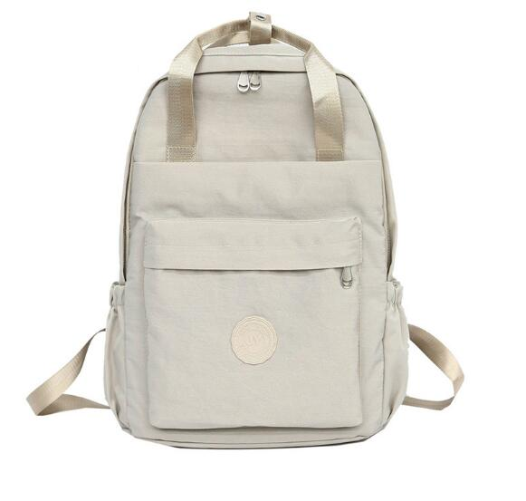 2019 casual canvas women solid backpack students rucksack-in Backpacks from Luggage & Bags    2