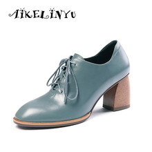 AIKELINYU New Fashion Blue High Heels Pumps Genuine Leather Square Head Party Night Club Shoes Woman Leather Lace Up Office Pump цена 2017