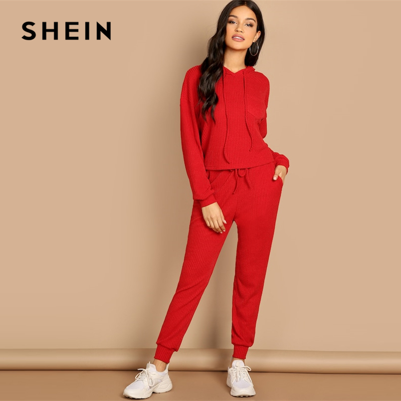 SHEIN Red Pocket Patched Solid Hoodie and Drawstring Waist Pants Plain Set Women Two Pieces Sets 2019 Autumn Plain Twopiece 2