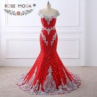 Роза Moda роскошный сильно бисером красный Кружево Русалка платье для выпускного вечера с обнаженной назад ручной работы 3D цветы жемчужина П