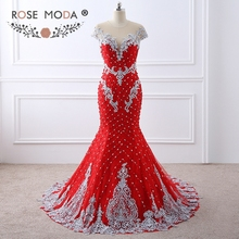 Rose Moda Luxury Heavily Beaded Red Lace Mermaid Prom Dress with Nude Back Handmade 3D Flowers Pearl Buttons Formal Party Dress