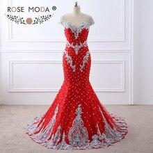 Rose Moda Sang Trọng Nặng Nề Beaded Red Lace Mermaid Prom Dress Nude Trở Lại với Handmade Hoa 3D Nút Ngọc Trai Formal Đảng ăn mặc