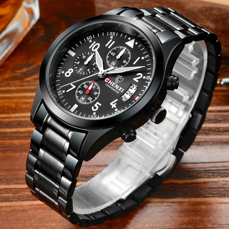 2017 New CHENXI Men's Watch 3 Small Dial Chronograph Sport Watches Stainless Steel Waterproof Quartz Wristwatches For Men Gifts new arrival chenxi 3 eyes sport waterproof steel quartz wristwatches wrist watch for men male 036a silver