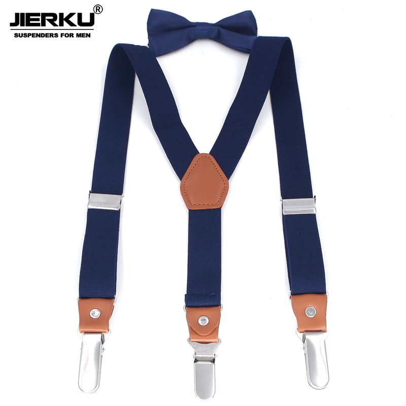 JIERKU Suspenders Kid's Braces Baby Suspenders 3Clips Stainless Steel Clips Suspensorio Fashion Trousers Strap 2.5*75cm