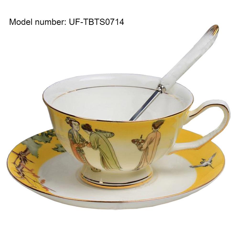European Royal England Bone China Ceramic 2-Piece Chinese Painting Tea <font><b>Cup</b></font> Coffee <font><b>Cup</b></font>,Three Girl,White And <font><b>Yellow</b></font>