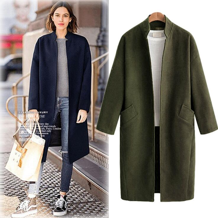 Women Hairy Coats Green Blue Autumn Winter Women Coat Casual Loose Open Stitch   Trench   plus Size