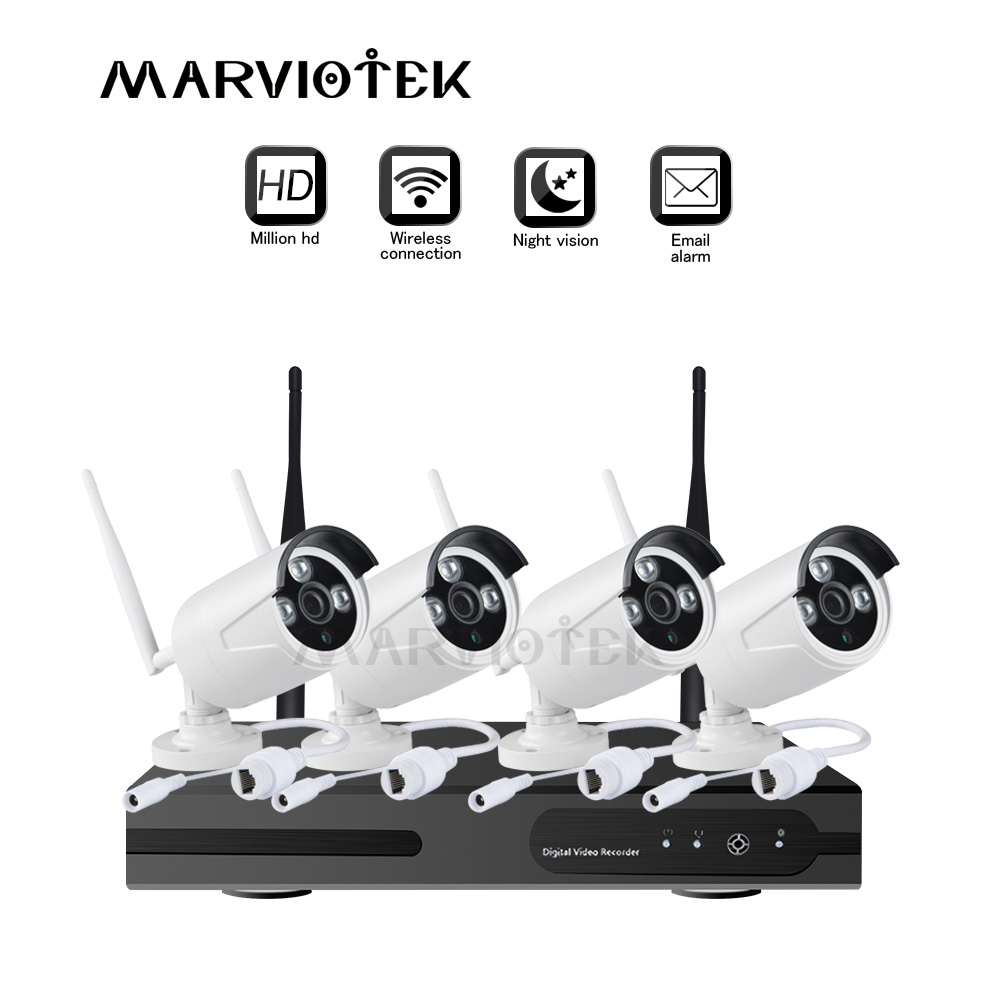 Видеорегистратор, Камеры видеонаблюдения Система 1080 P система видеонаблюдения 720 P 8ch IP-камера Wi-Fi NVR комплект 4 камеры Открытый Wi-Fi камера ком...