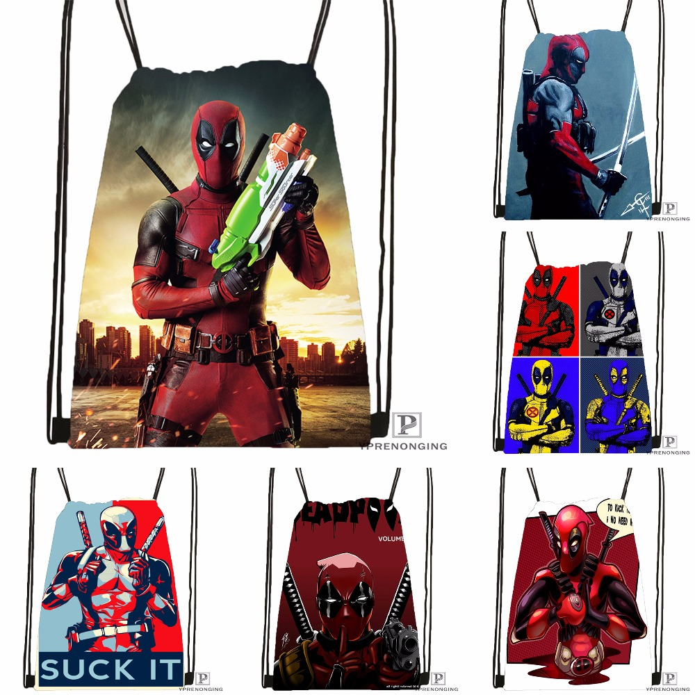 Custom Deadpool Marvel Comics Drawstring Backpack Bag Cute Daypack Kids Satchel (Black Back) 31x40cm#180531-02-31