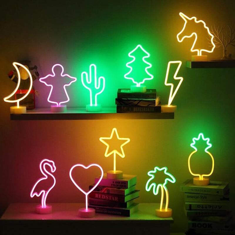 все цены на Night Neon Light Flamingo Heart Star Angle Shape Table Battery Light Home Party Festival Decoration Child Gifts Light