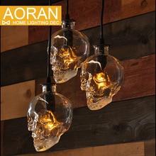 Урожай Череп головы стеклянный подвесной светильник висит кулон лампы для украшения искусства эдисон подвесные светильники E14 лампы оптом